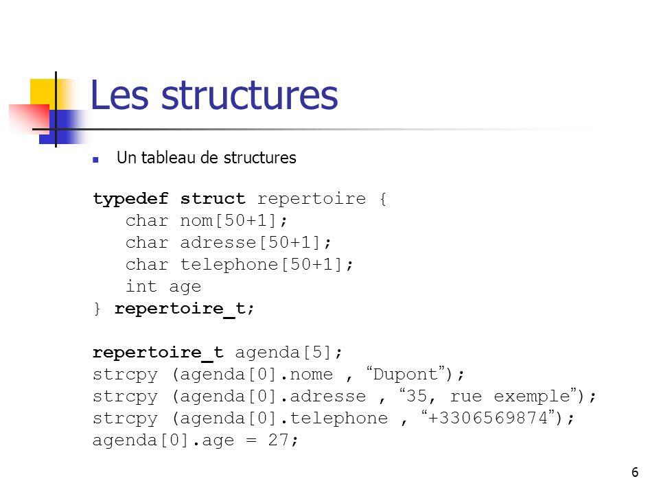 Les structures typedef struct repertoire { char nom[50+1];